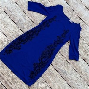 H and M short sleeve black detail dress size M